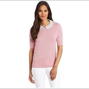 Pink Tartan sweater with removable leather collar